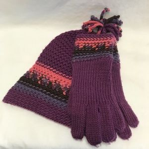 Knit Cap and Mitttens Set